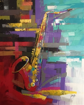 Francis Annan Affotey - Saxophone Acrylic on Canvas, Paintings
