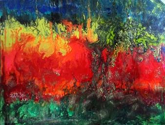 Maria Medrano - Hypernova Oil, Acrylic, Gesso, Resin, on Canvas, Mixed Media