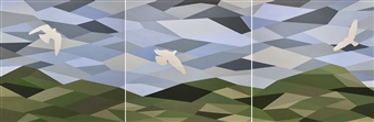 Chadwick Arcinue - Dreamscape XIII + XIV + XV (The Hamptons Triptych) Acrylic on Canvas, Paintings