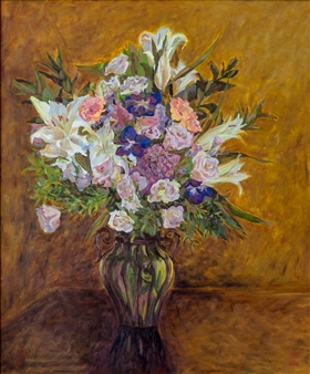 Aigerim Bektayeva - A Bouquet Oil on Canvas, Paintings