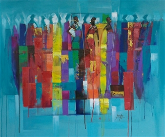 Francis Annan Affotey - Discussion of the Maasai Acrylic on Canvas, Paintings