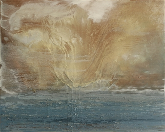 Marina Maltezou - Rainstorm Oil on Wood, Paintings