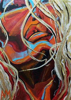 Ashley Morgan - Red & Orange Blonde Acrylic on Canvas, Paintings