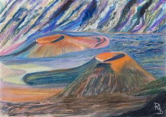 Raul Mariaca Dalence - Crater of Haleakala Pastel on Canvas, Paintings