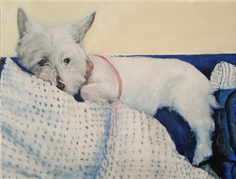 Jonathan Mann - Anina's After-Breakfast Perch (Westie) Acrylic on Canvas, Paintings