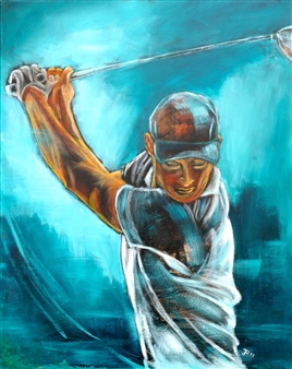 Jutta Schulte - Golfer 2 Acrylic on Canvas, Paintings