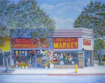 Miguel A. Chavez - Noelia's Market Oil on Canvas, Paintings