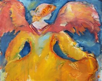 Dede Schuhmacher - Archangel Jodiel Oil on Canvas, Paintings