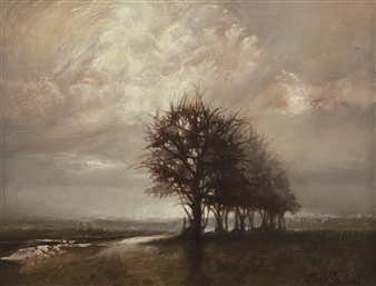 Bekir Smolski - Lonely Tree Oil on Canvas, Paintings