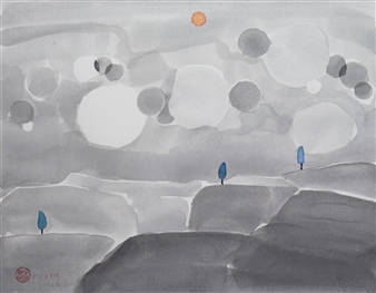 Becky Sungja Kim - WCI 1804 Watercolor on Paper, Paintings