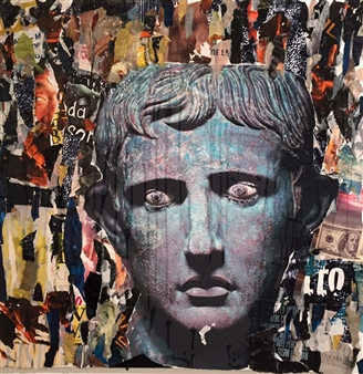 Nello Petrucci - Augusto Collage on Canvas, Mixed Media
