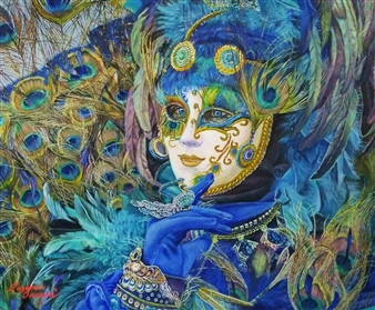 Sayumi Osanai - Venetian Mask 3 Oil on Canvas, Paintings