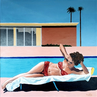 RW Fuller - Linda Sunbathing at David Hockey's A Bigger Splash Home Acrylic on Canvas, Paintings