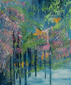 Zvia Merdinger - Cherry Blossom Mixed Media on Canvas, Mixed Media