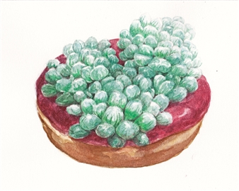 Charmaine Nadine Osaerang - Raspberry Frosting Succulent Donut Watercolor on Paper, Paintings