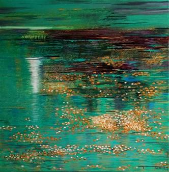 Madhuri Bhaduri - Reflections 4 Oil on Canvas, Paintings