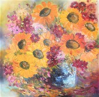 Caroline Degroiselle - My Suns Joyful Dancers Acrylic on Canvas, Paintings