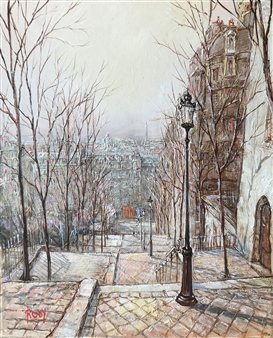 Rody - Utrillo Street Oil on Canvas, Paintings
