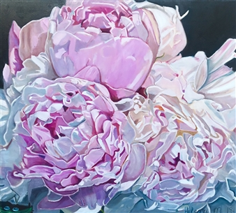 Helena McConochie - Waterdrops on Peonies 'Andra' Oil on Canvas, Paintings