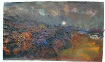 Frances Hatch - Peeling Velvet Moon Acrylic & Mixed Media on Canvas, Mixed Media