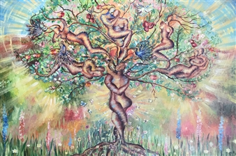 Teona Titvinidze-Kapon - Love Tree Acrylic & Oil on Canvas, Paintings