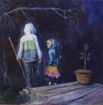 Jenny Blomquist - Nights Watch Oil on Canvas, Paintings
