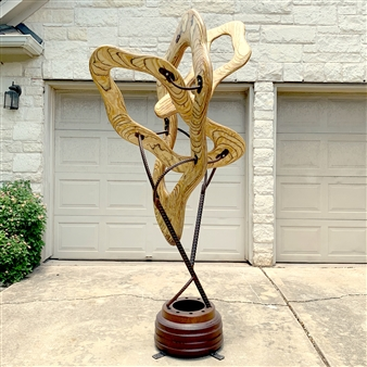 John Mark Luke - Interaction of Thought V Mixed media-metal and wood, Sculpture