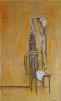 Anna Weichert - The Man in the Closet 2 Oil & Pastel on Canvas, Paintings