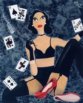 Miss C - The Poker Queen Acrylic & Oil on Canvas, Paintings
