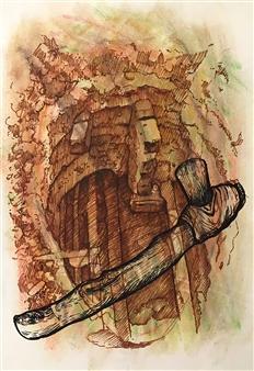 Manuel Riquelme Loyola - Flow Pastel on Paper, Paintings