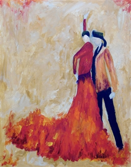 Mahnaz Weldy - Dance Me to the End of Love Acrylic on Canvas, Paintings