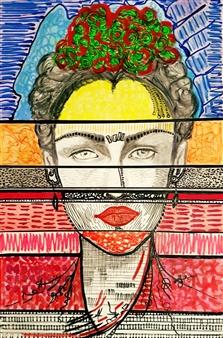 Franck Sastre - Frida Oil on Canvas, Paintings