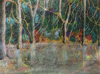 Maribel Matthews - River Trees Acrylic on Cardboard, Paintings