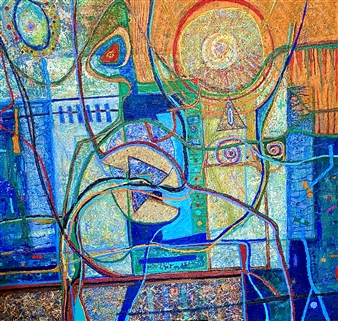 Hector Anchundia - Abstracto y Figuras Acrylic on Canvas, Paintings