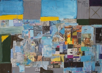 Ana Ingham - London in Summer Oil & collage on Wood, Mixed Media
