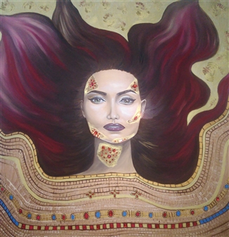 Katha B - Helium Oil & Gemstones on Canvas, Mixed Media