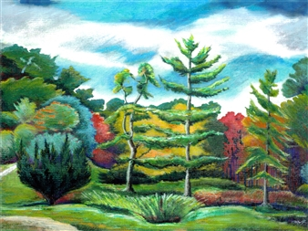 Michael Victor ▪ MVR - Tupelo Pines Tree Garden_ Innisfree Autumn Lscp Hard Pastels with Multi-media, Prints