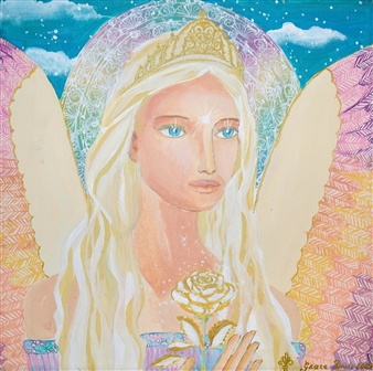 Doris Brown - The Female Angel of Gold Frequency Acrylic on Canvas, Paintings