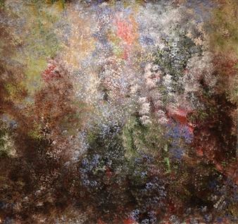 Joe Koury - My Flowered Garden Acrylic on Canvas, Paintings