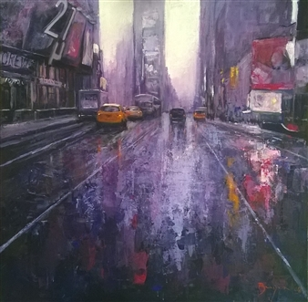 Emanuele Biagioni - Pioggia a New York Acrylic on Canvas, Paintings