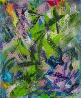Anna K Art Katja van den Bogaert - Palm Trees Acrylic on Linen, Paintings