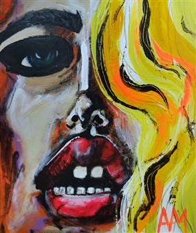 Ashley Morgan - Lips & Teeth Blonde Acrylic on Canvas, Paintings