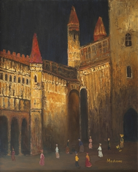 Madina Pavlyuk - Golden City Oil on Canvas, Paintings