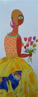 Leandro Miguel Cruz - La Mariposa Oil on Canvas, Paintings
