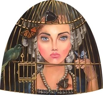 Rosana Largo Rodríguez - Freedom Birdies Oil on Canvas of Wood, Bell Shape, Paintings