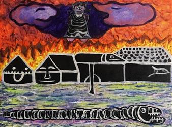 Paula Sayago Lundin - Fire Dust Acrylic on Canvas, Paintings