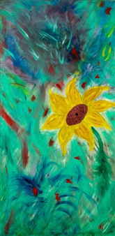 Jodi DeCrenza - Sun Flower Acrylic & Oil on Canvas, Paintings