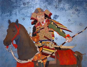 Akinori Ohtsuka - Mountain Warrior of the Heian Period Mixed Media on Japanese Paper, Mixed Media