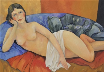 Stefano Puleo - Figure Lying Down Oil on Linen, Paintings