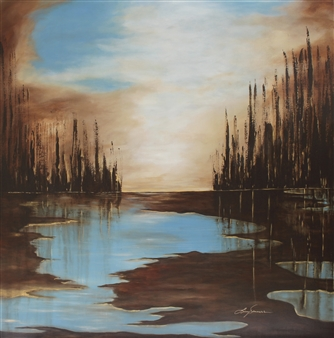 Lisa Sommers - Misty Glade Acrylic on Canvas, Paintings